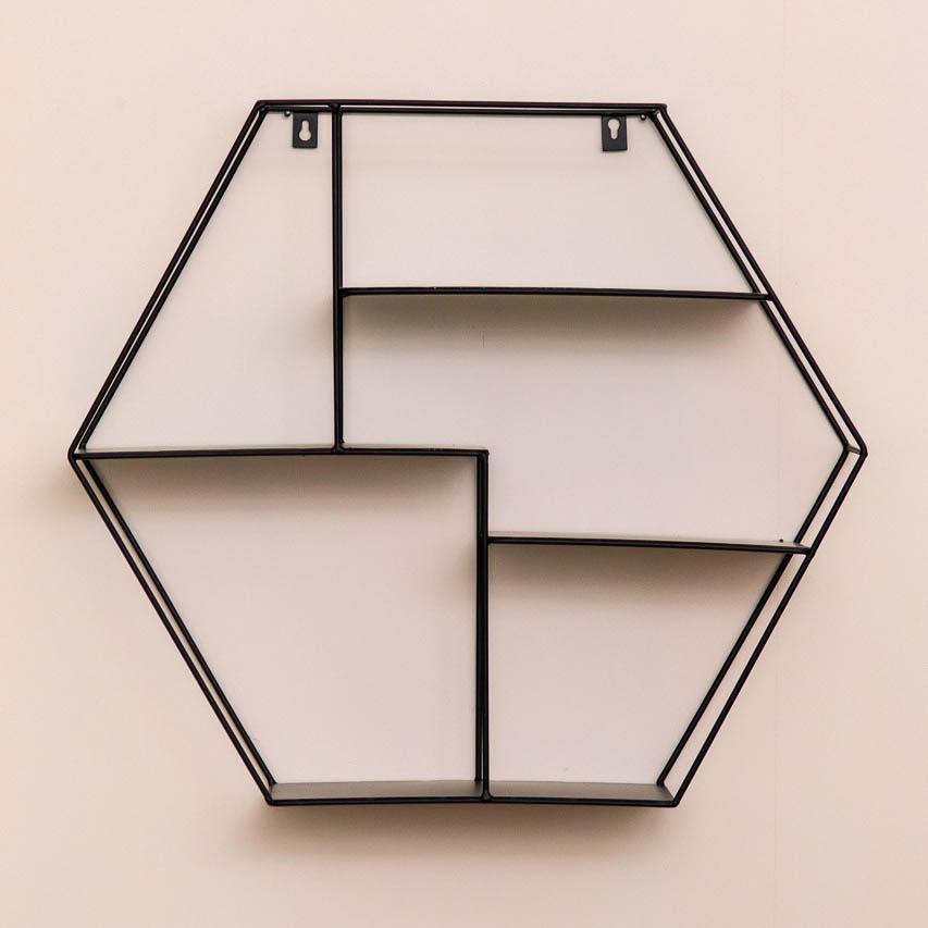 wandregal in hexagon form sechseckig metall schwarz hejpix