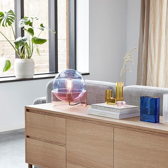 Designervase - U-Form, Glas, blau