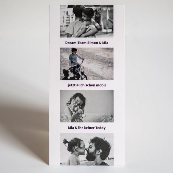 Grußkarte - DIN Lang hoch, 4 Bilder mittig