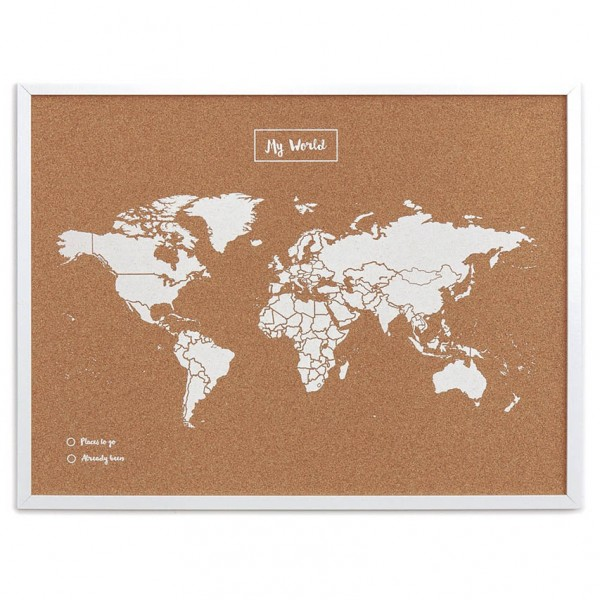 Pinnwand Woody Map - Weltkarte, Kork, mit Pins
