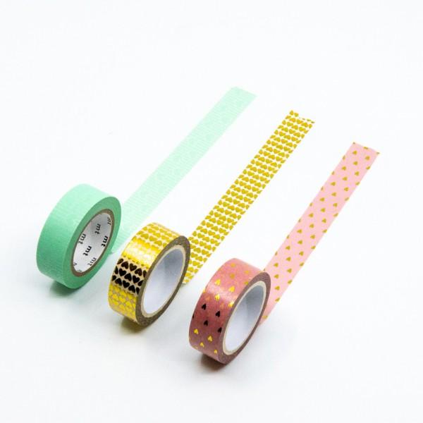 Masking Tape HERZ - 3er Set, Herzmuster, Washi
