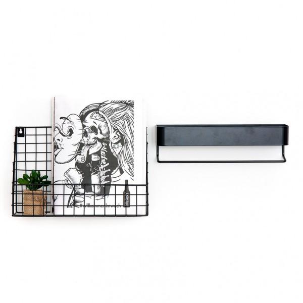 Wandablage - mit Hängestange, Metall, schwarz