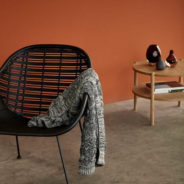 Tisch - rund, mit Ablage, Holz (Eiche)