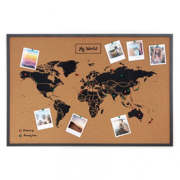 Pinnwand Woody Map XL - große Weltkarte, Kork
