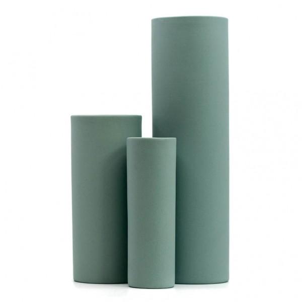 Vasen - 3er Set, Zylinderform, Porzellan, grün