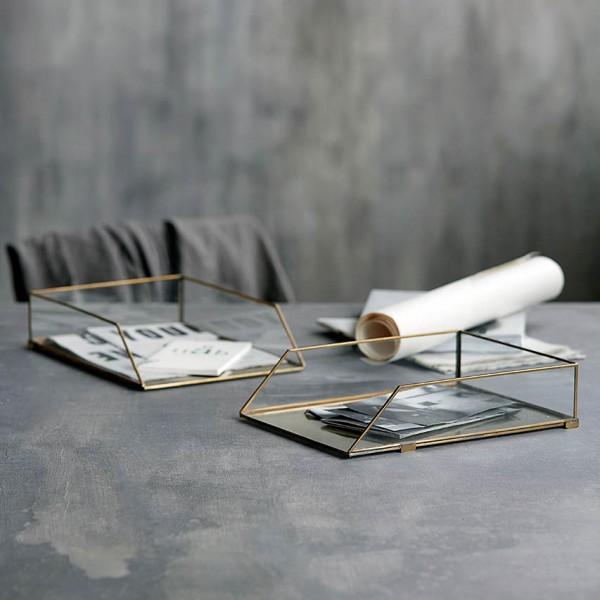 Briefablage - Glas/Messing