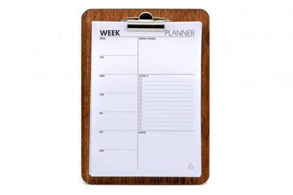 Wochenplaner - DIN A5, mit Clipboard aus Holz