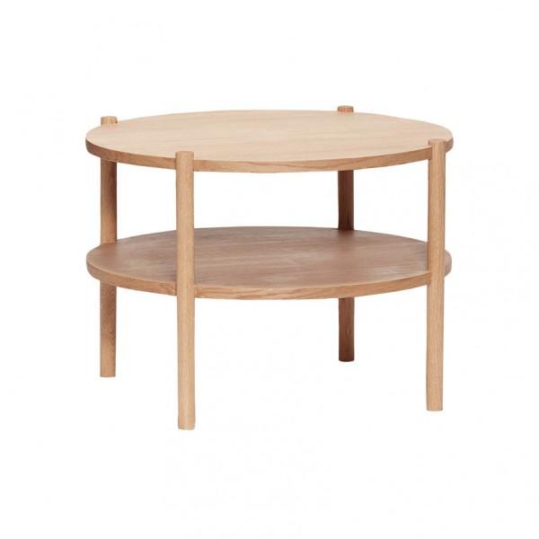 Tisch - rund, mit 2 Ablagen, Holz (Eiche)