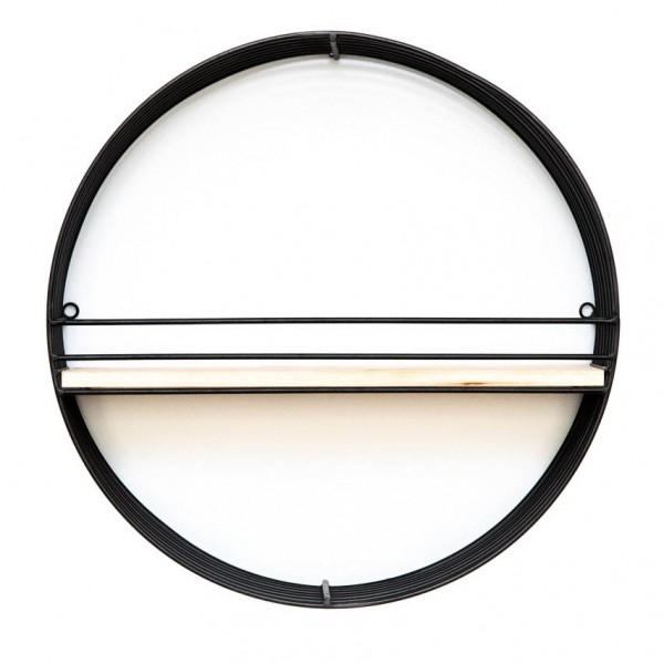 Wandregal LINEA - rund, Metall und Holz