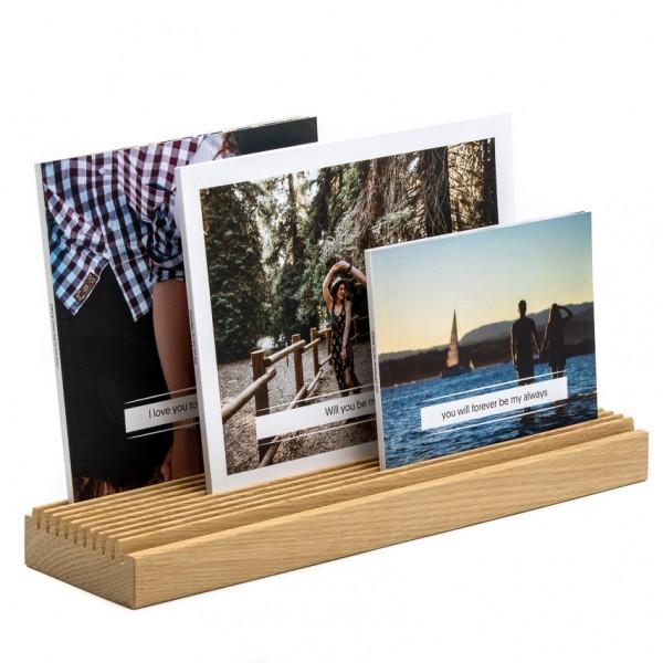 Fotoaufsteller - Holz (Eiche), mit 10 Rillen