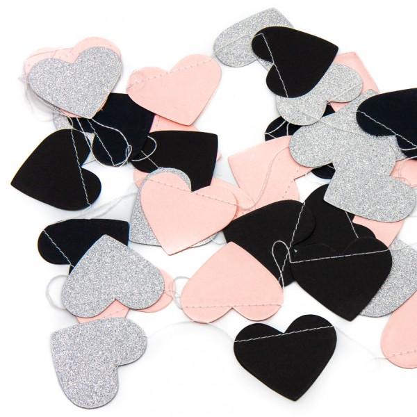 Girlande - Herzen, 4 m, schwarz und rosa