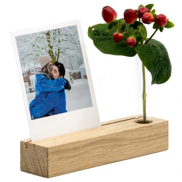 Fotoaufsteller - Holz (Eiche), mit Minivase