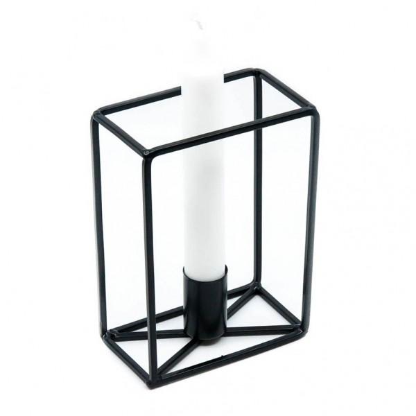 Kerzenhalter - Blockdesign, Metall, schwarz