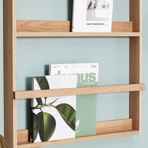 Magazinhalter - Wandregal, Holz (Eiche)