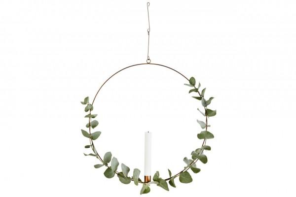 Deko Ring - mit Kerzenhalter, Metall, gold