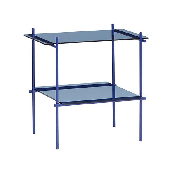 Beistelltisch - mit 2 Ablagen, Metall/Glas, blau