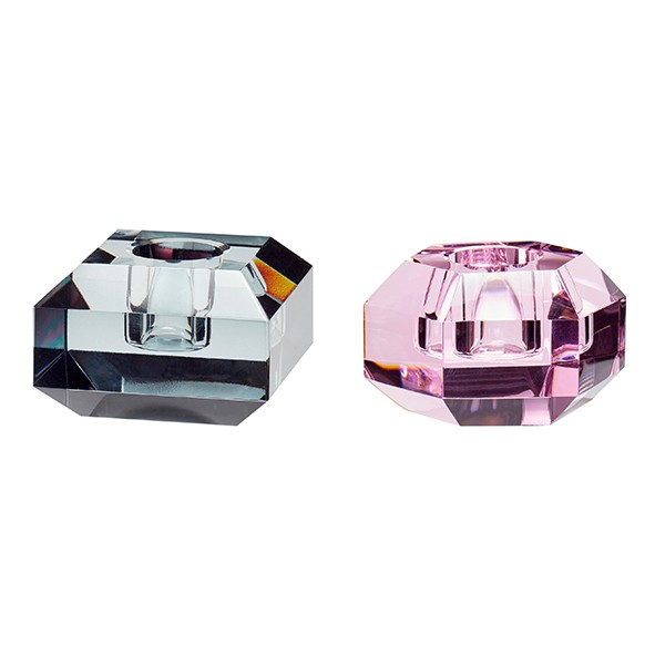 Design Kerzenständer - 2er Set, Glas, smoked/pink