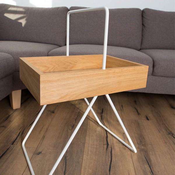 Beistelltisch Emil - tragbar, Holz/Aluminium