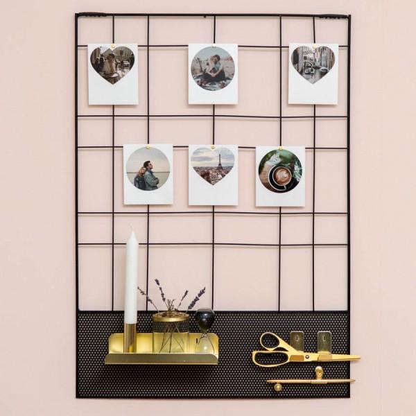 Wandgitter MEMO - rechtecktig, mit goldenem Ablagefach und Haken