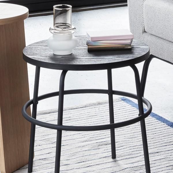 Beistelltisch - rund, Holz/Metall, schwarz