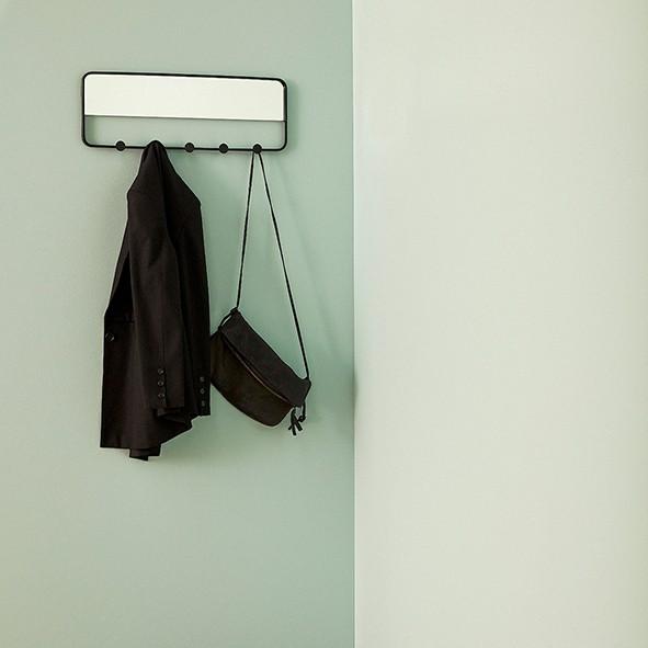 Garderobe - mit Spiegel, Metall, schwarz
