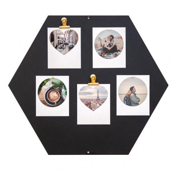 Magnettafel - Hexagon, schwarz, inkl. Mini-Magnete
