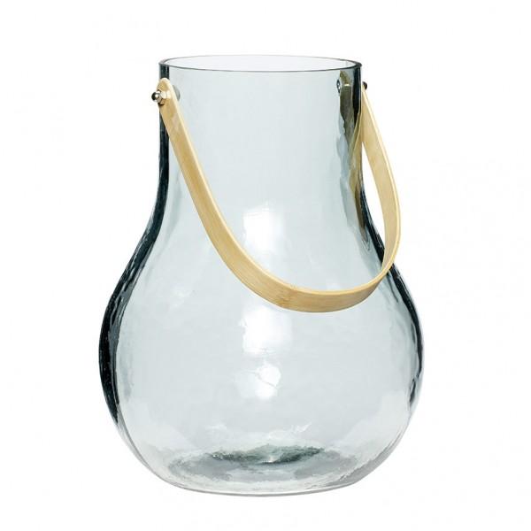 Vase - bauchig, mit Henkel, Glas/Bambus