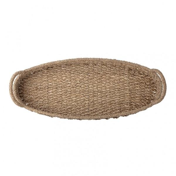 Deko Tablett - oval, Bankuan Gras, natur
