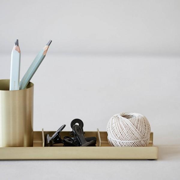 Schreibtischorganizer - 3-teilig, Messing