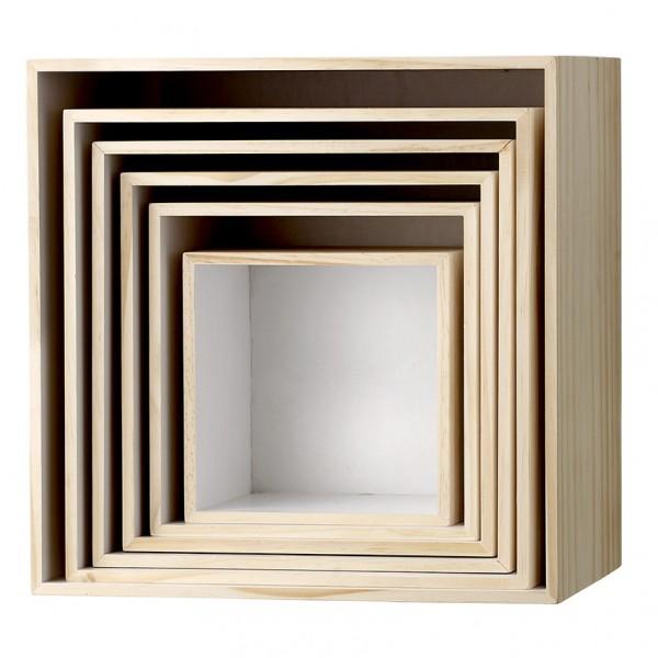 Schaukasten Boxen - 6er Set, natur oder weiß