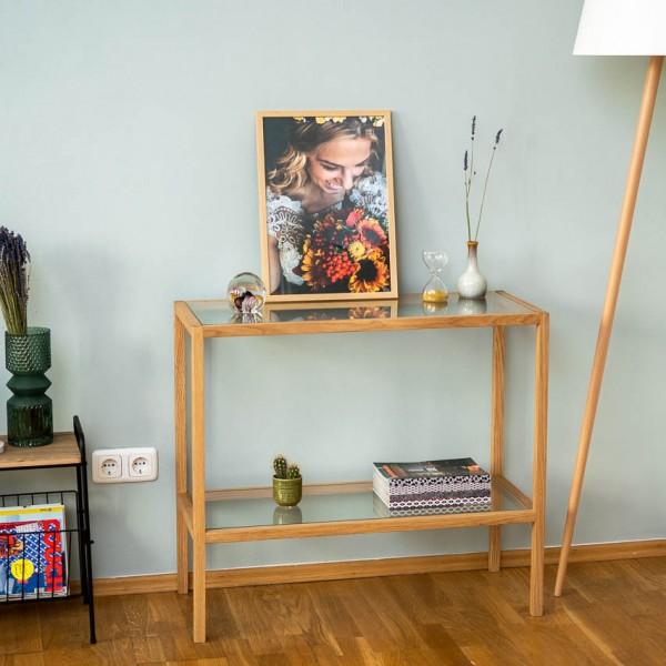 Regal - Standregal mit 2 Ablagen, Glas/Holz