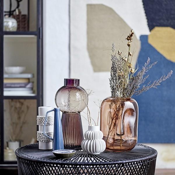 Vase - mit Henkel, Steinzeug, blau