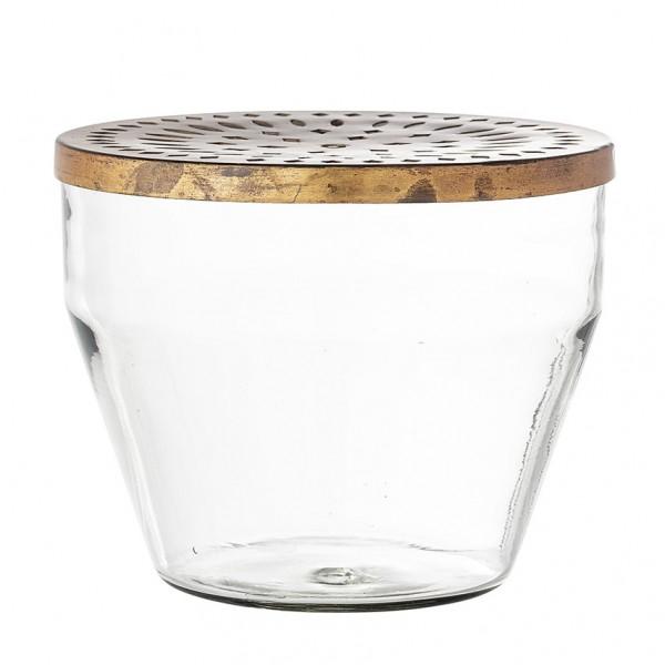 Vase - mit Lochdeckel, Glas/Eisen
