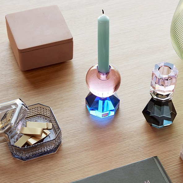 Design Kerzenhalter - Glas, rosa/blau