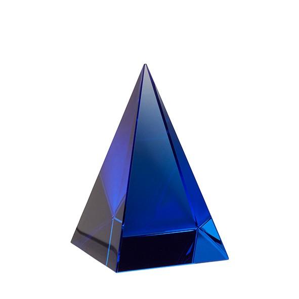 Briefbeschwerer - Pyramide, Glas, blau