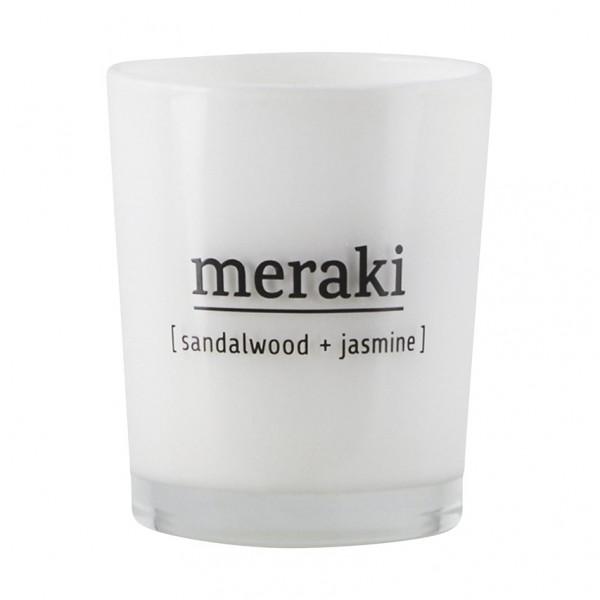 Duftkerze Sandalwood & Jasmine - 5,5x6,7 cm, weißes Glas