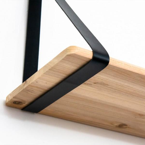 Wandablage - 70 cm, Holz und Kunstlederriemen