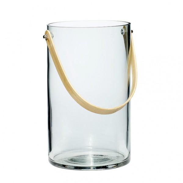 Vase - Zylinderform, mit Henkel, Glas/Bambus