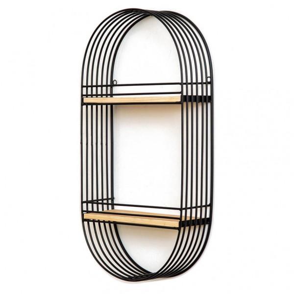 Wandregal LINEA - oval, Metall und Holz