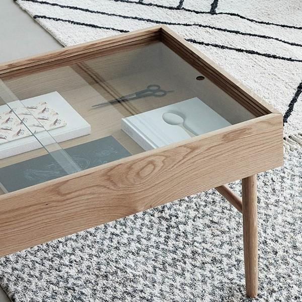 Tisch - mit Ablagefach, Glas/Holz (Eiche)