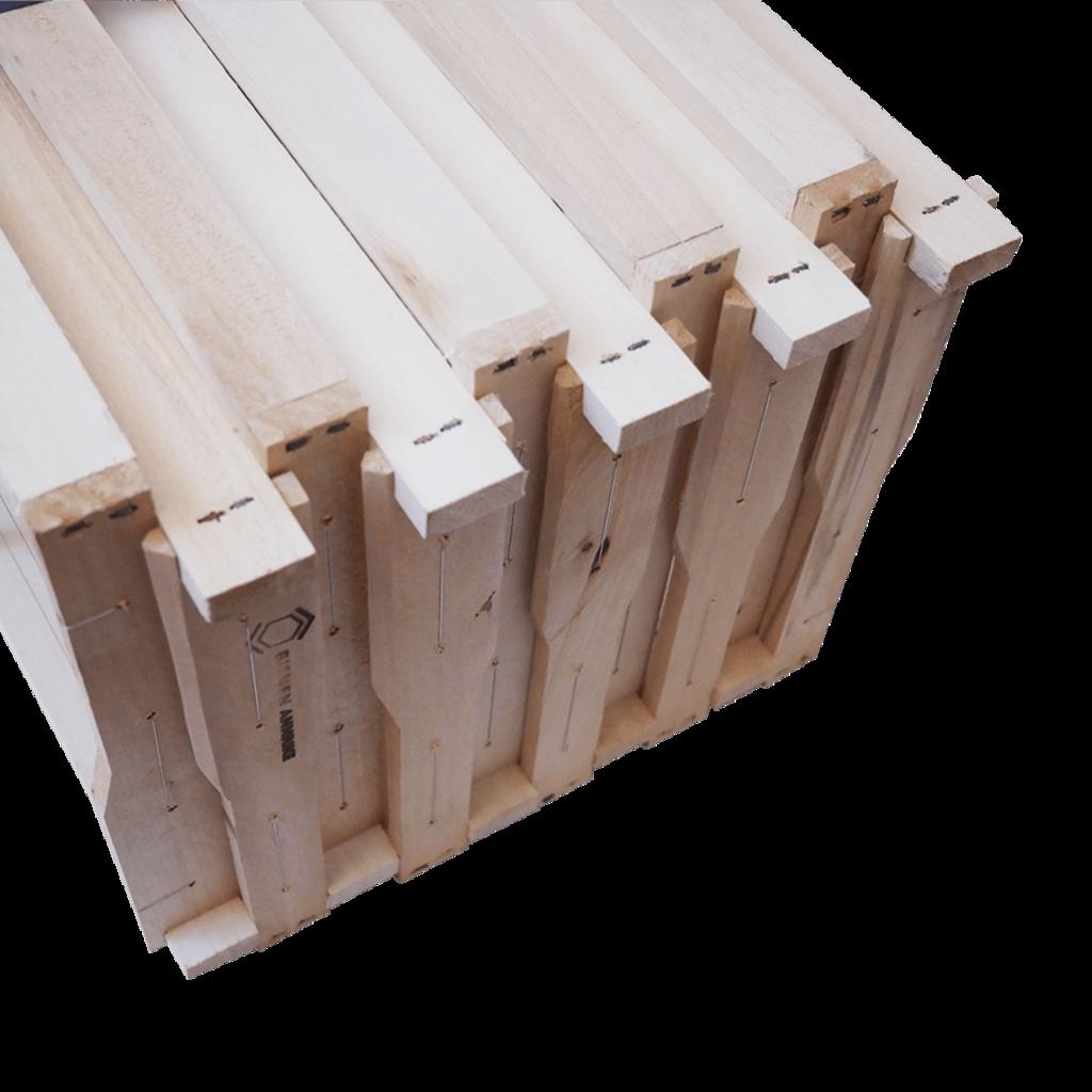 10 Rähmchen - Dadant Blatt, Honigraum, Hoffmann-Seiten. 470x435x159mm. Nr: 1024