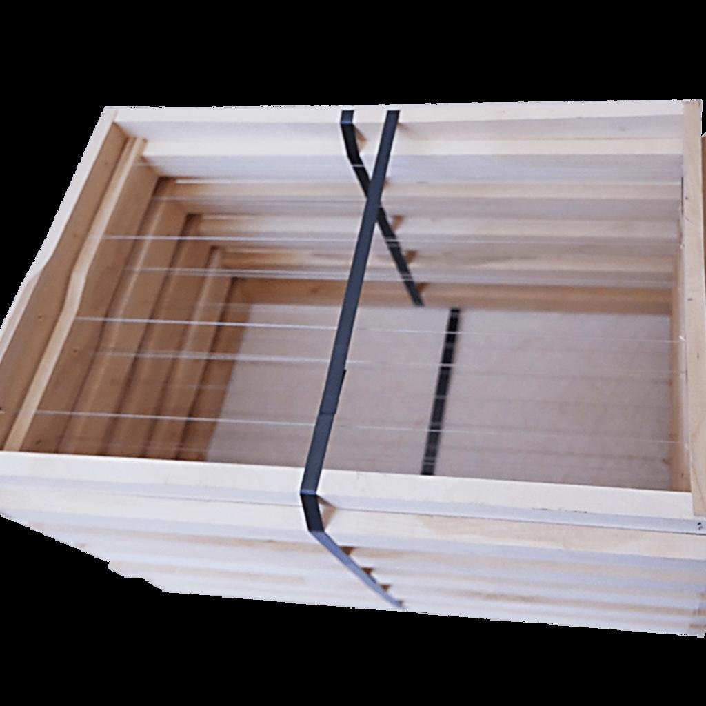 10 Rähmchen - Dadant Blatt, Brutraum, Hoffmann-Seiten. 470x435x300mm. Nr: 1022
