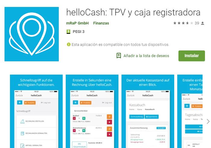 Aplicación de software TPV y caja registradora helloCash para POS