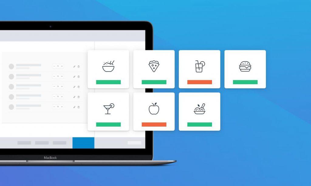 Laptop mit verschiedenen Symbolen für Essen