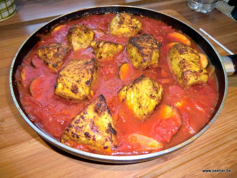 Curryhühnchen aus der Pfanne