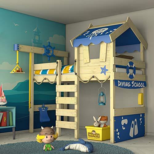 WICKEY Hochbett CrAzY Jelly Kinderbett mit Dach Spielbett 90x200 für Kinder  mit Lattenboden und Hebezugsystem