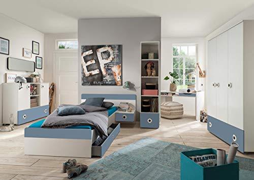 lifestyle4living jugendzimmer komplett set in wei und. Black Bedroom Furniture Sets. Home Design Ideas