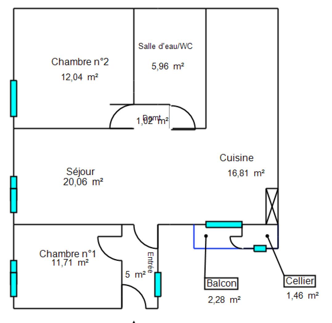 Vente Appartement 74 m² T3 06300_PLAN