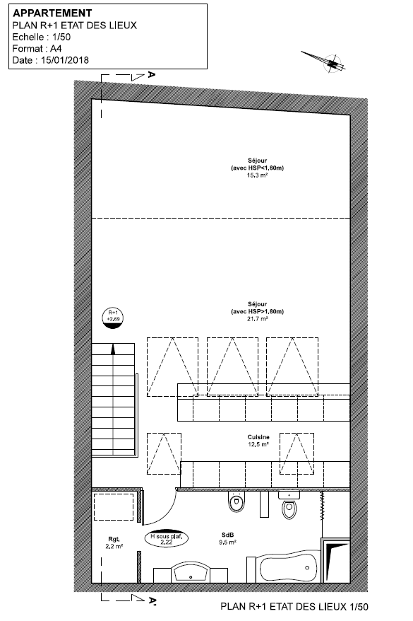 Vente appartement duplex Antibes 06600 T4 90m²_plan r+1