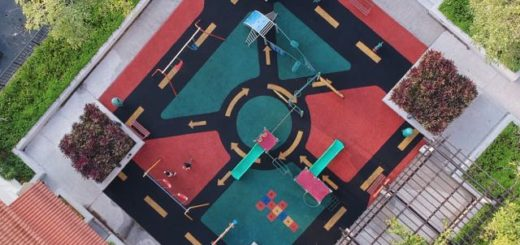 aerial view of a modern playground
